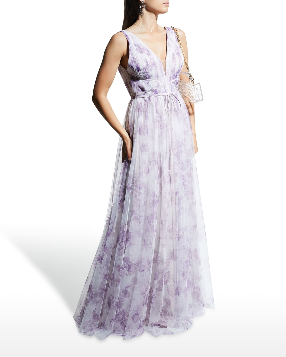 Porcelain-Printed Tulle Sleeveless A-Line Gown