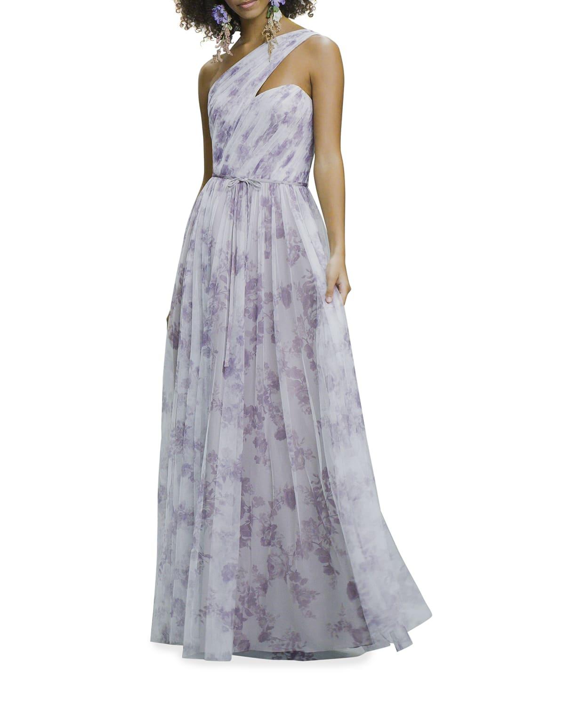 Porcelain-Print One-Shoulder Ruched Gown