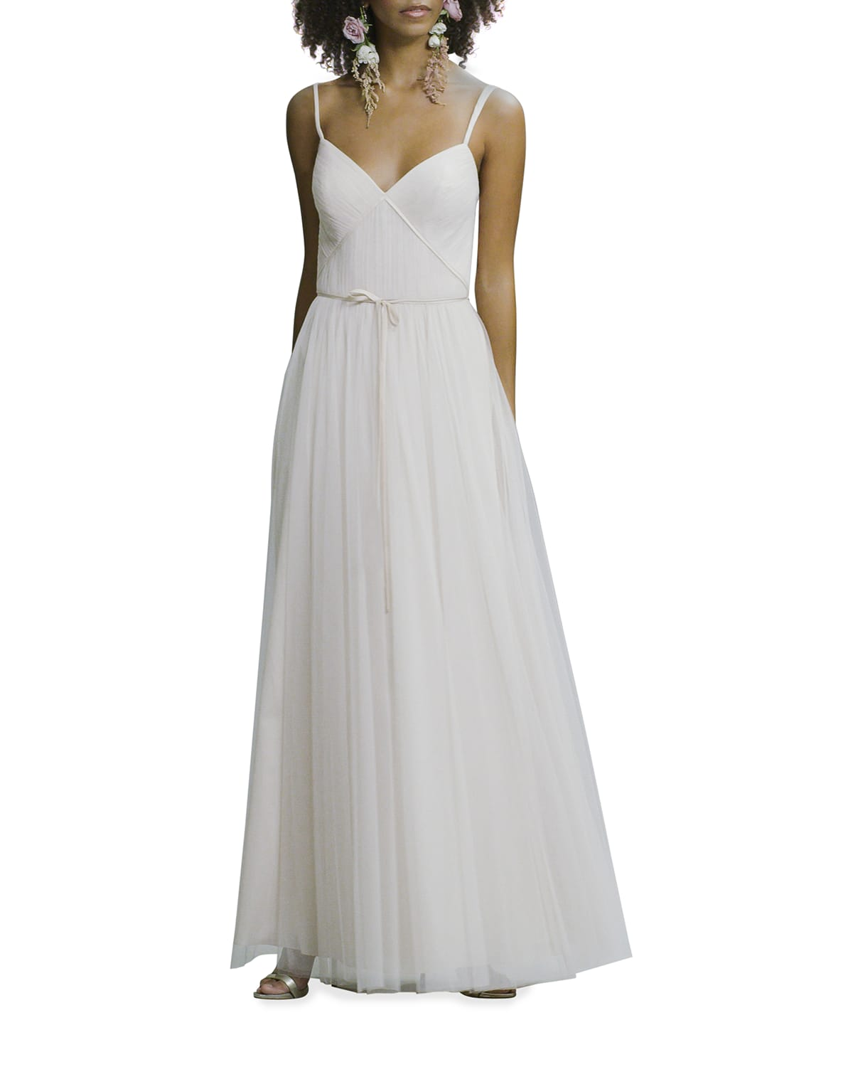 Sweetheart Ruched Double-Strap Cami Gown