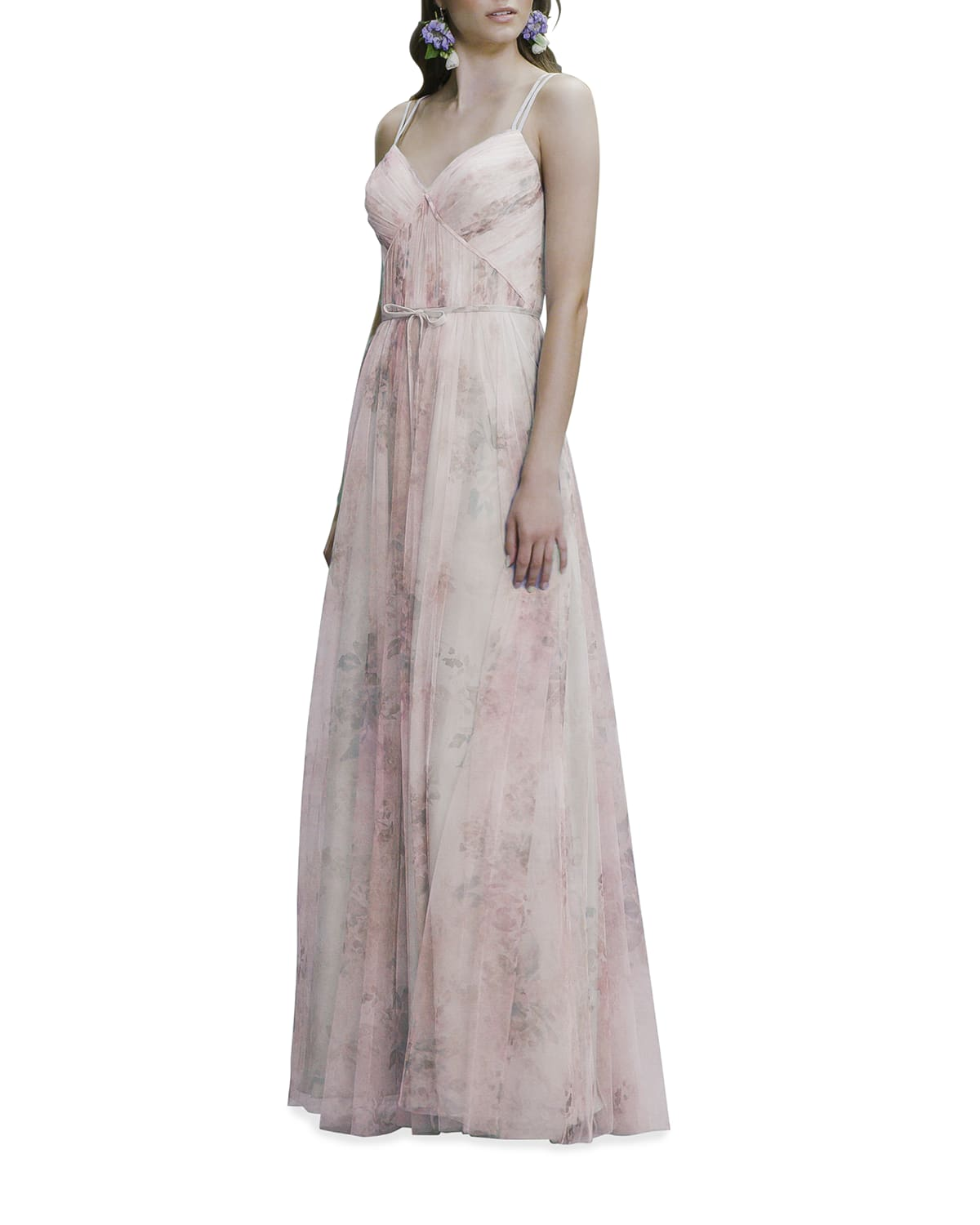 Watercolor-Print Tulle Double-Strap Cami Gown