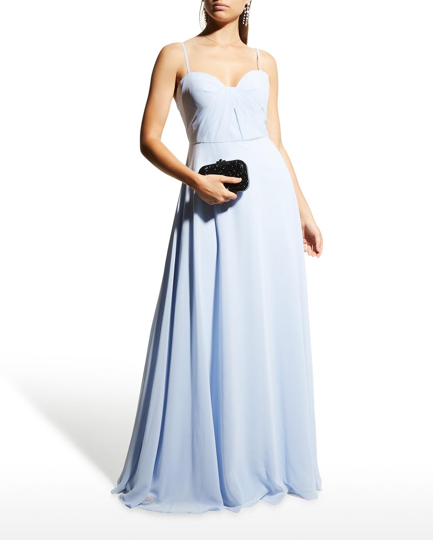 Sweetheart Tie-Back Chiffon Gown