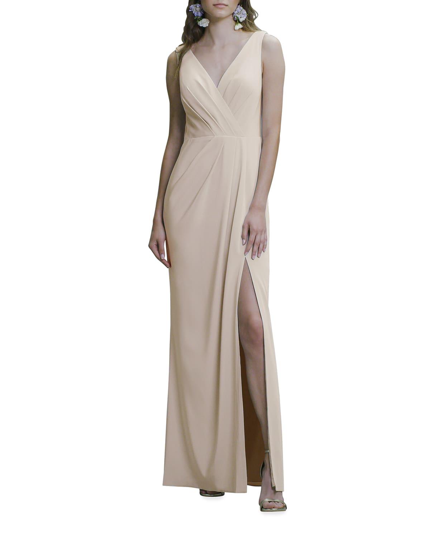 V-Neck Cowl-Back Sleeveless Column Gown