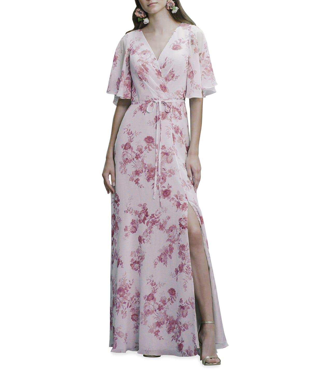 Porcelain Print Flutter-Sleeve Open-Back Gown
