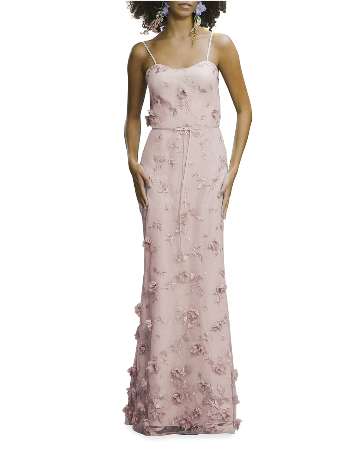 Embroidered 3D Applique Cami Gown