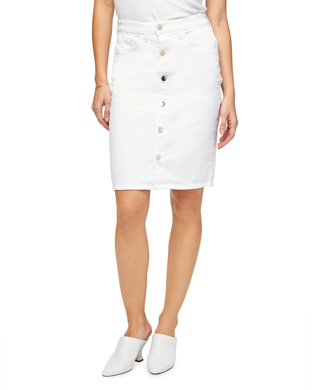 Button-Front Denim Pencil Skirt