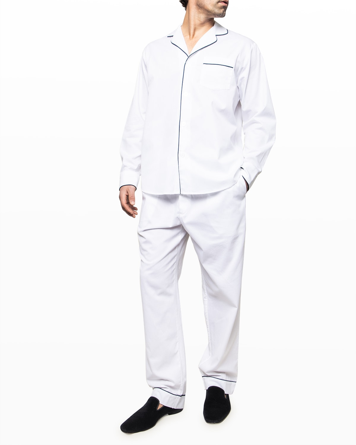 Men's Solid Twill Pajama Set With Piping