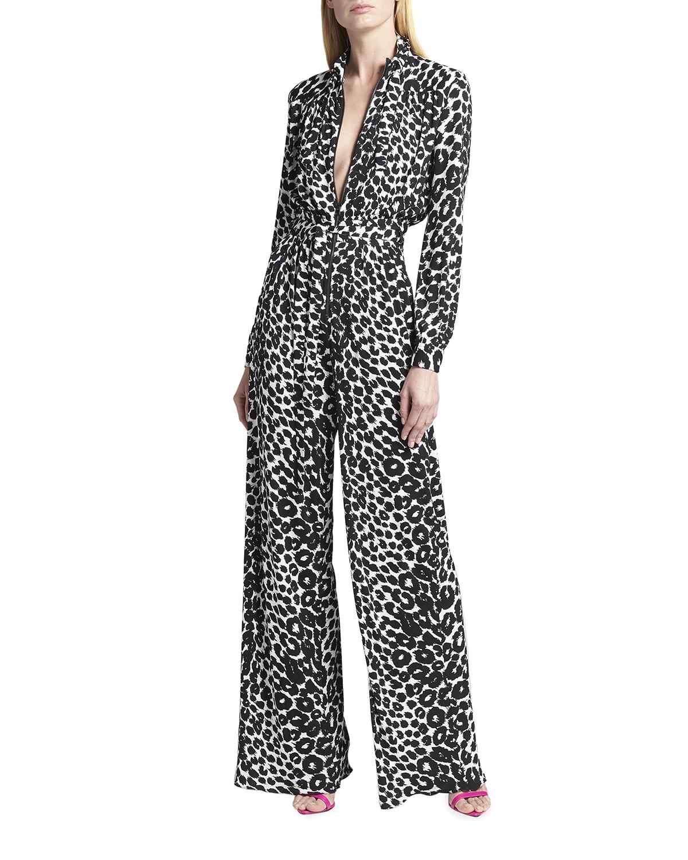 Leopard-Print Zip-Front Belted Jumpsuit