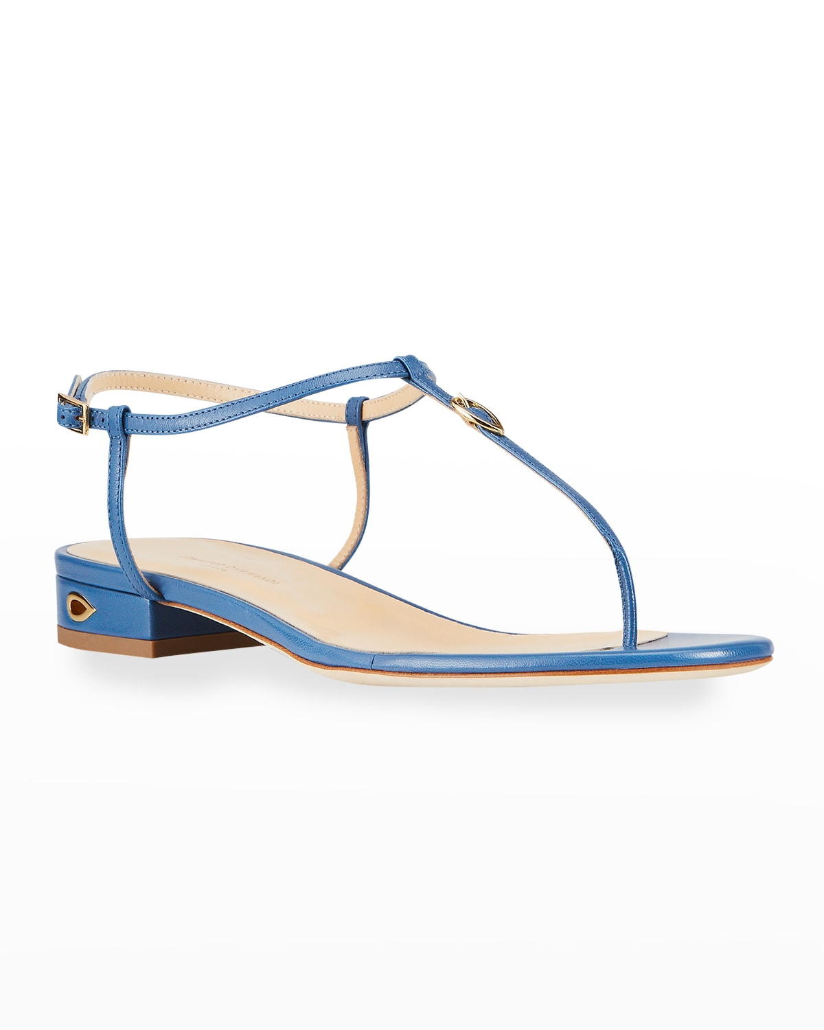 Pietro 20mm Buckle T-Strap Flat Thong Sandals