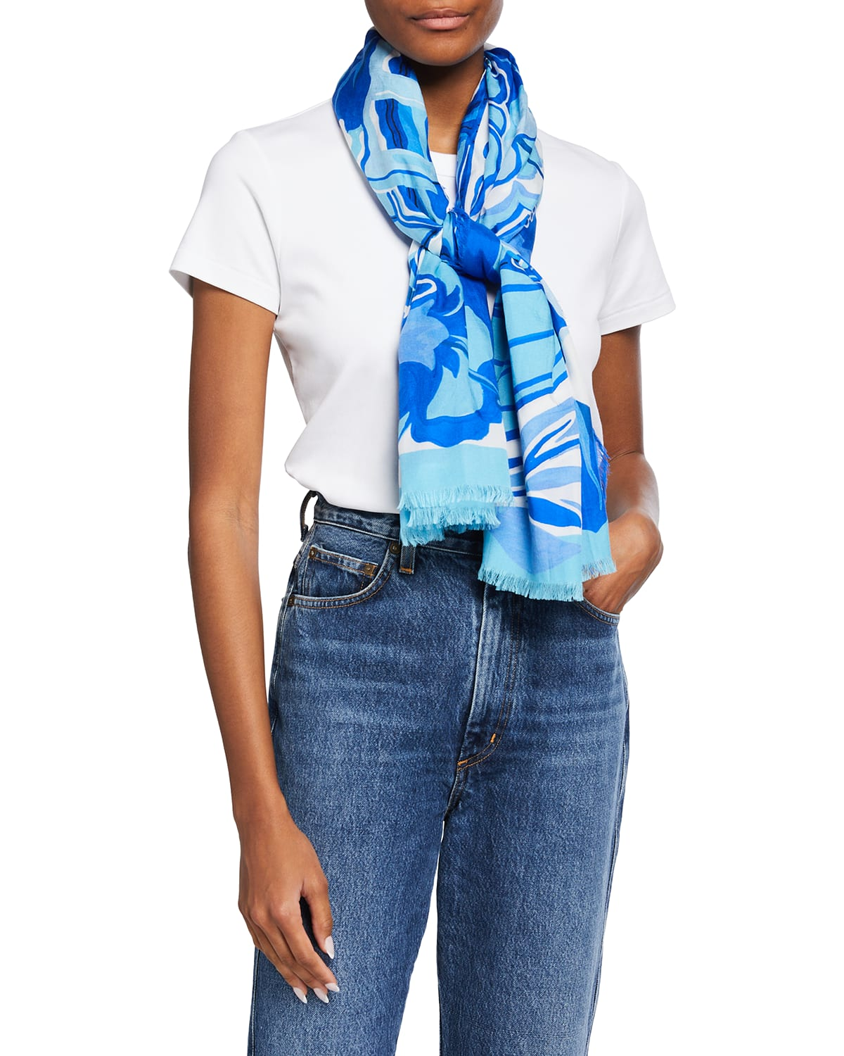 Tabacco Butterfly Silk-Blend Scarf