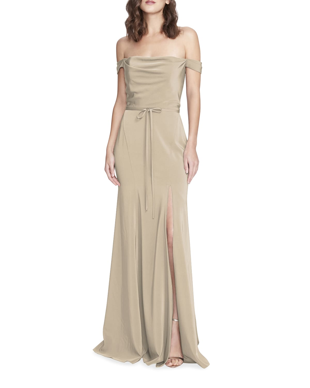 Stretch Satin Crepe Off-Shoulder Gown