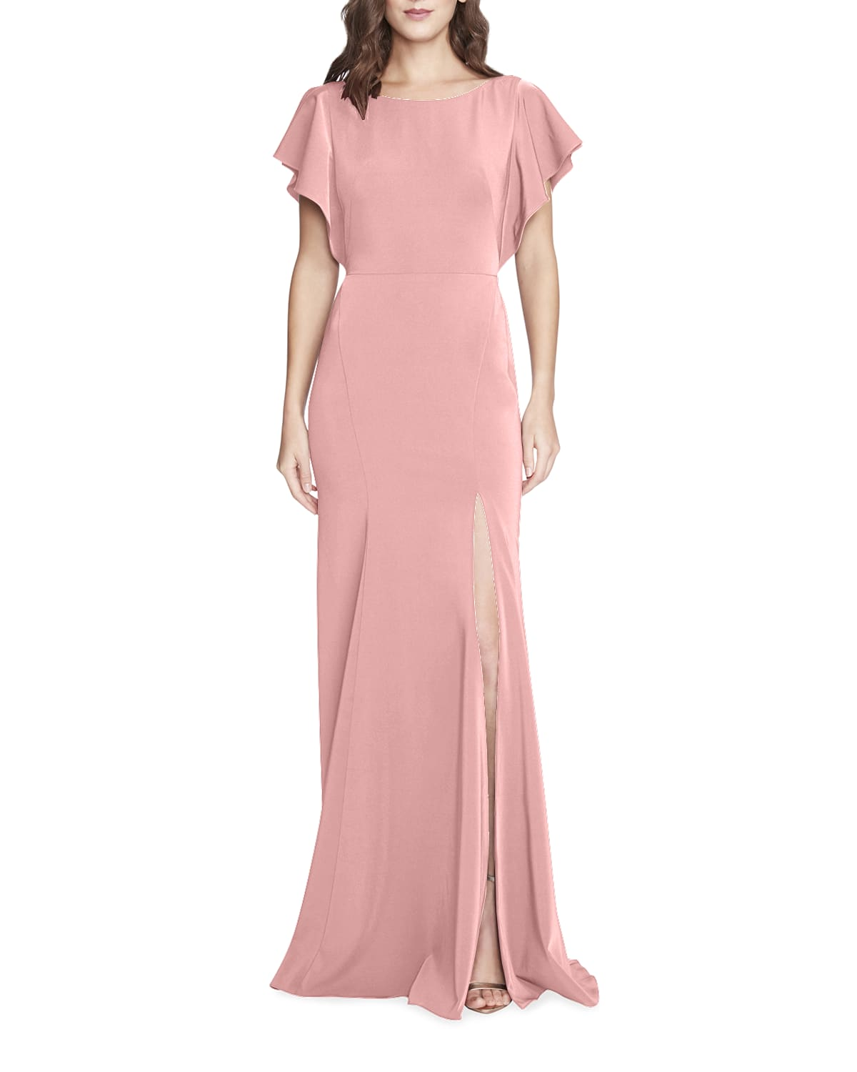 Boat-Neck Ruffle-Sleeve Slit Gown