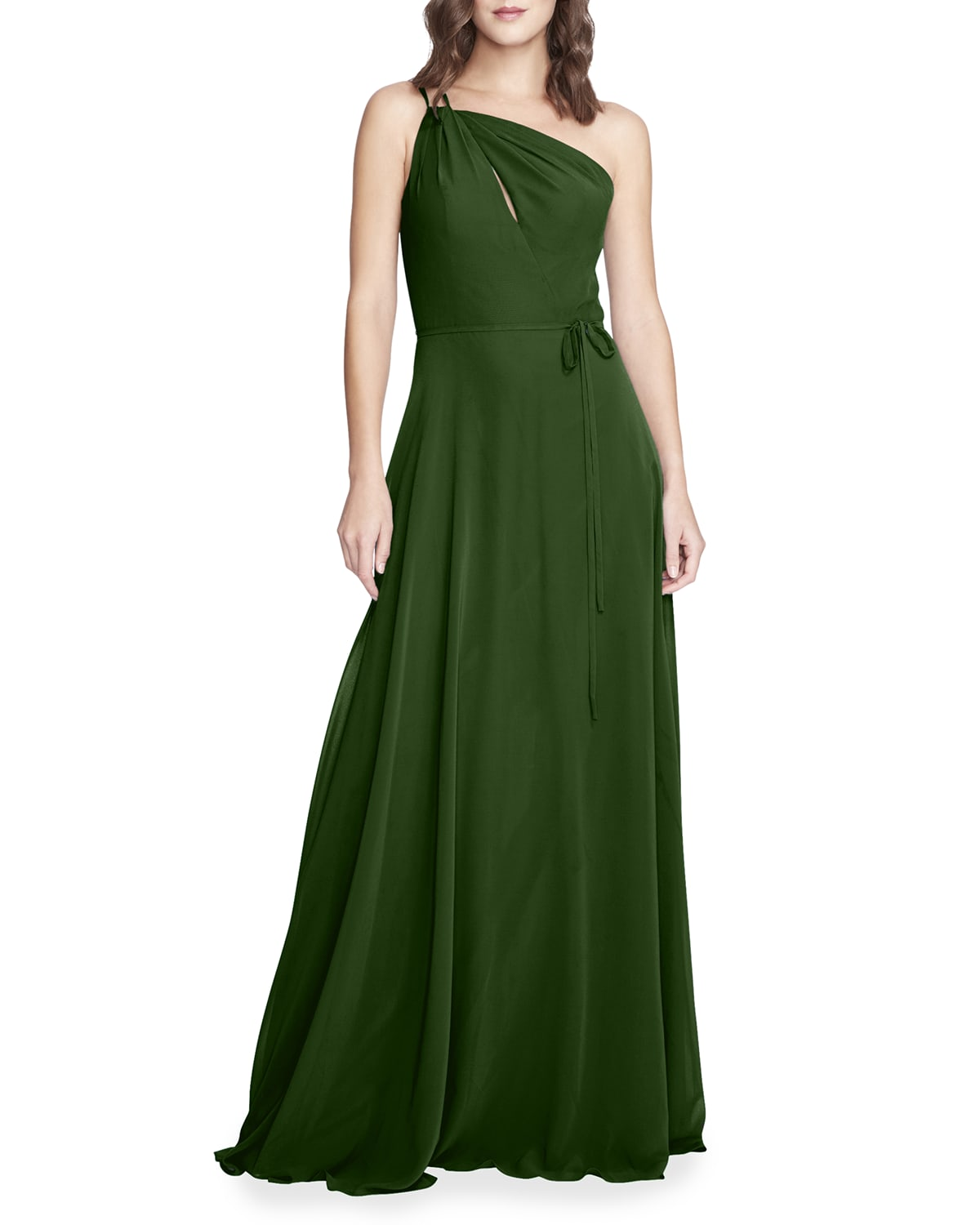 One-Shoulder Peek-A-Boo A-Line Gown