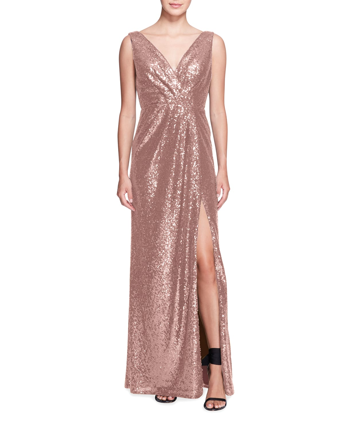 Sequined Draped Sleeveless Gown with Slit
