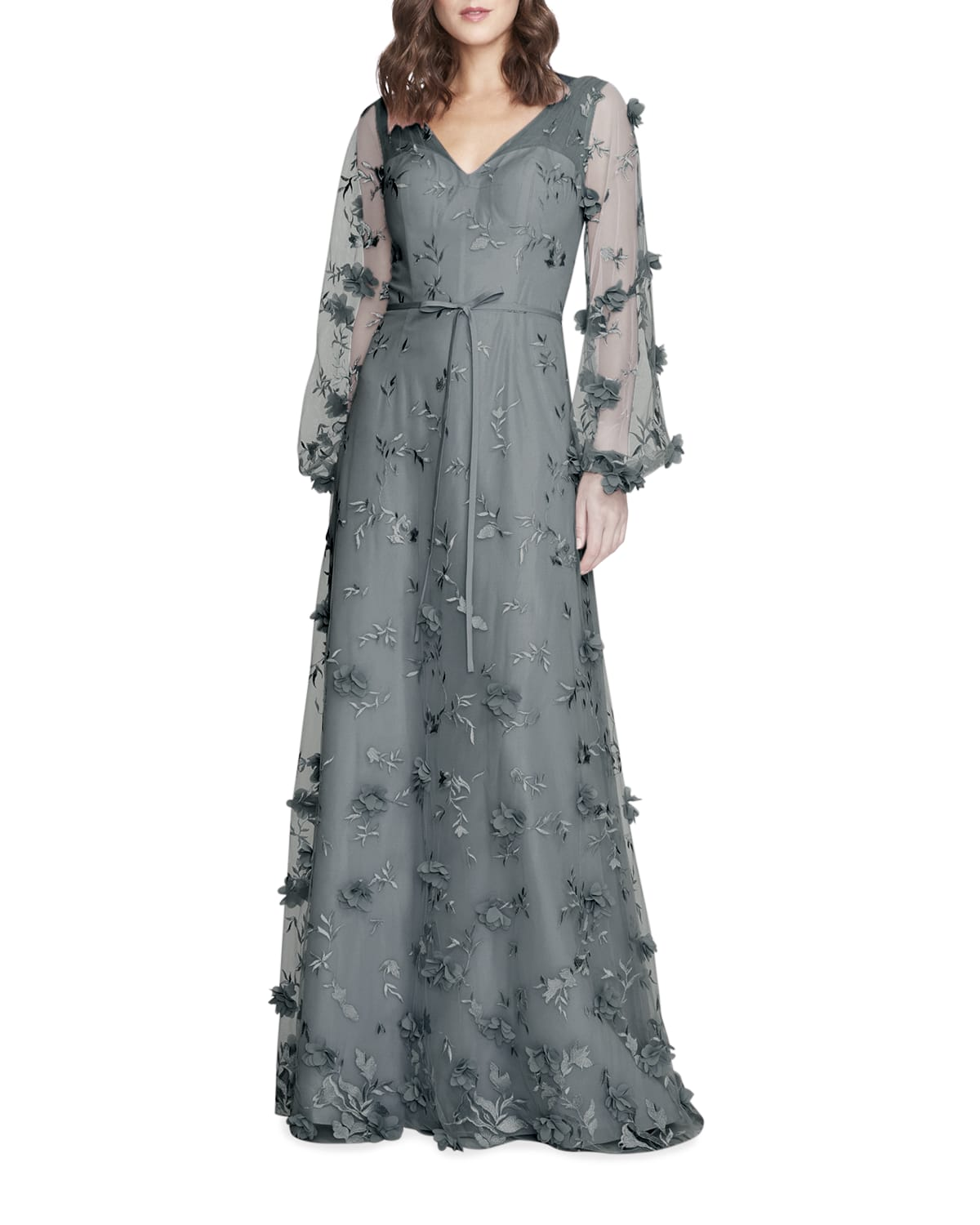 Floral 3D Long-Sleeve Gown