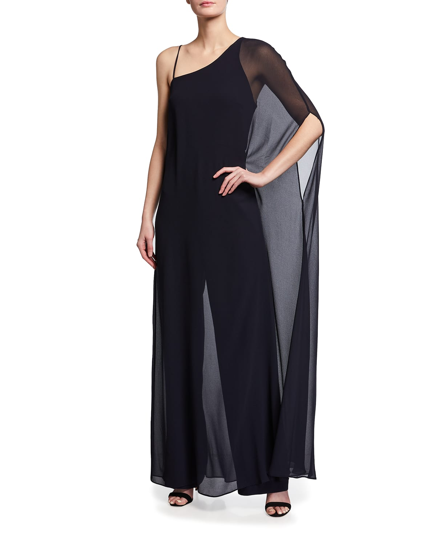 One-Shoulder Jumpsuit w/ Georgette Overlay