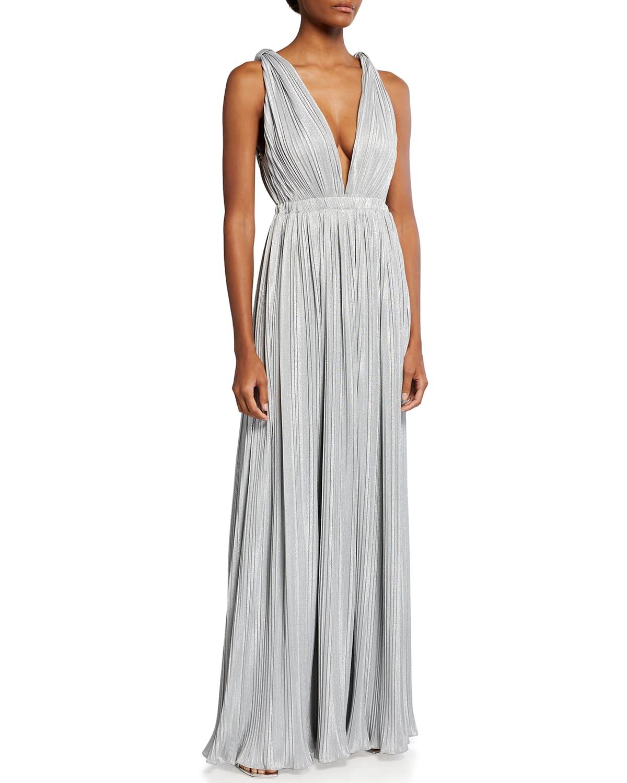 Pleated Metallic V-Neck Sleeveless Gown