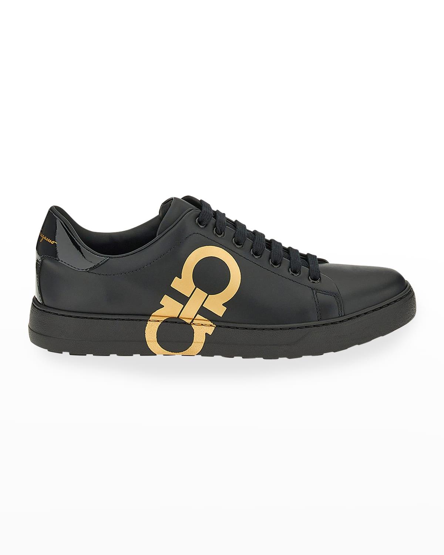 Men's Number Gancini-Print Low-Top Sneakers
