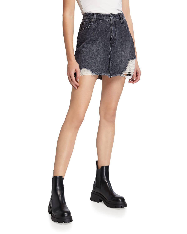 Good High-Rise Raw-Hem Denim Mini Skirt