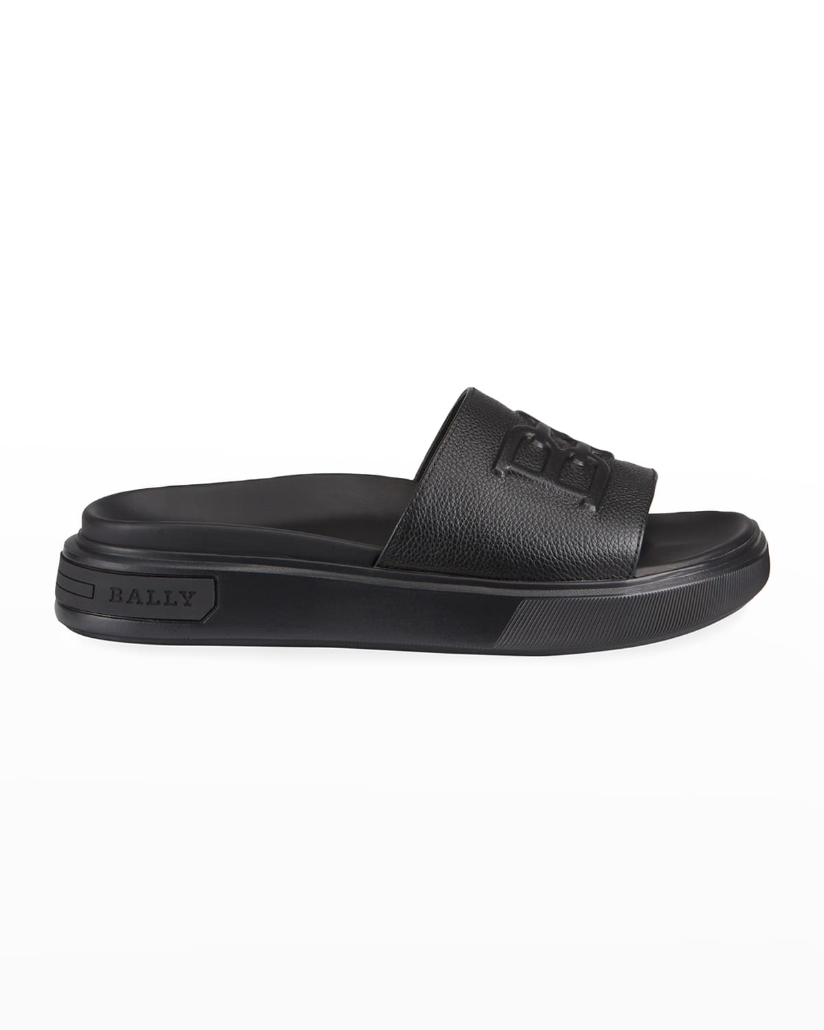 Men's Jarmo B-Chain Embossed Leather Slide Sandals