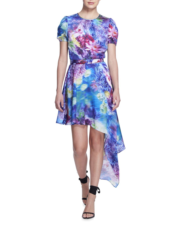 Asymmetrical Short-Sleeve Mini Dress