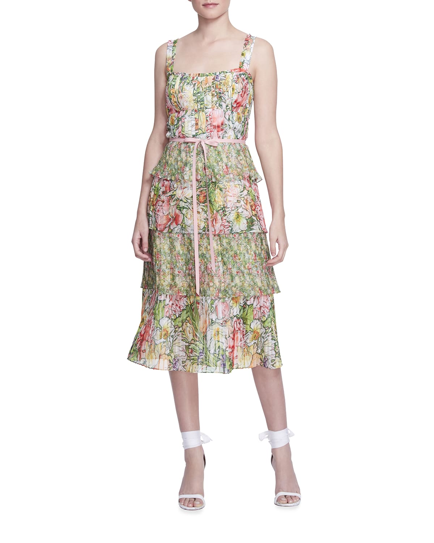 Floral Ruffle-Tiered Chiffon Midi Dress