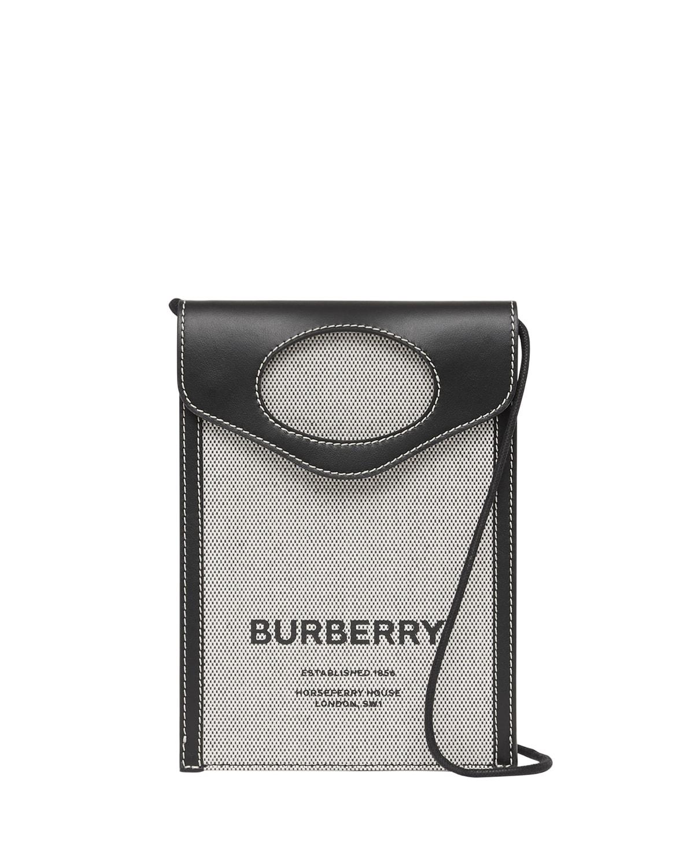 Men's Canvas/Leather Crossbody Card Case