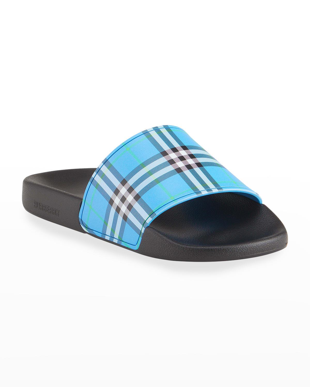 Men's Furley Check Pool Slide Sandals