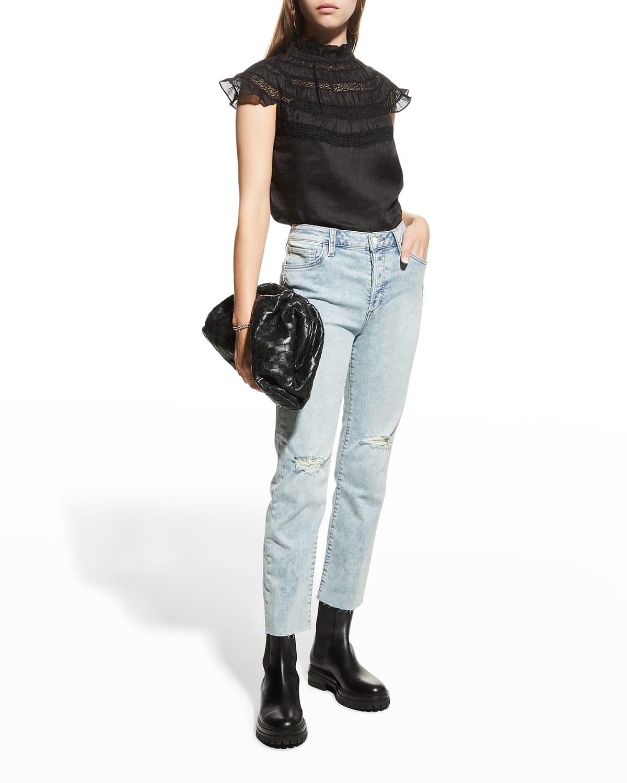 Lace-Inset Short-Sleeve Blouse