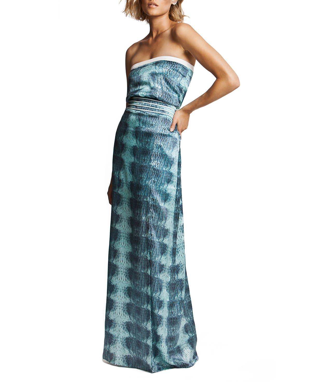 Birds of a Feather Strapless Silk Maxi Dress