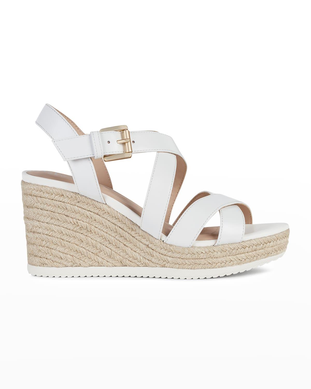 Crisscross Leather Wedge Espadrille Sandals