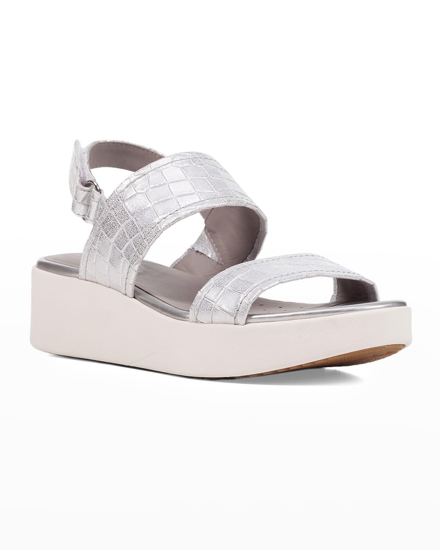 Mock-Croc Metallic Sporty Sandals
