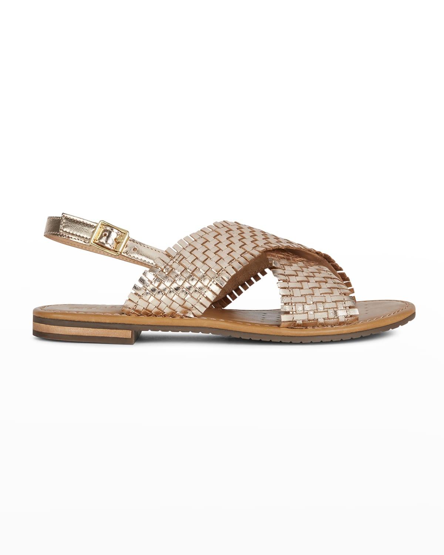 Metallic Woven Flat Slingback Sandals