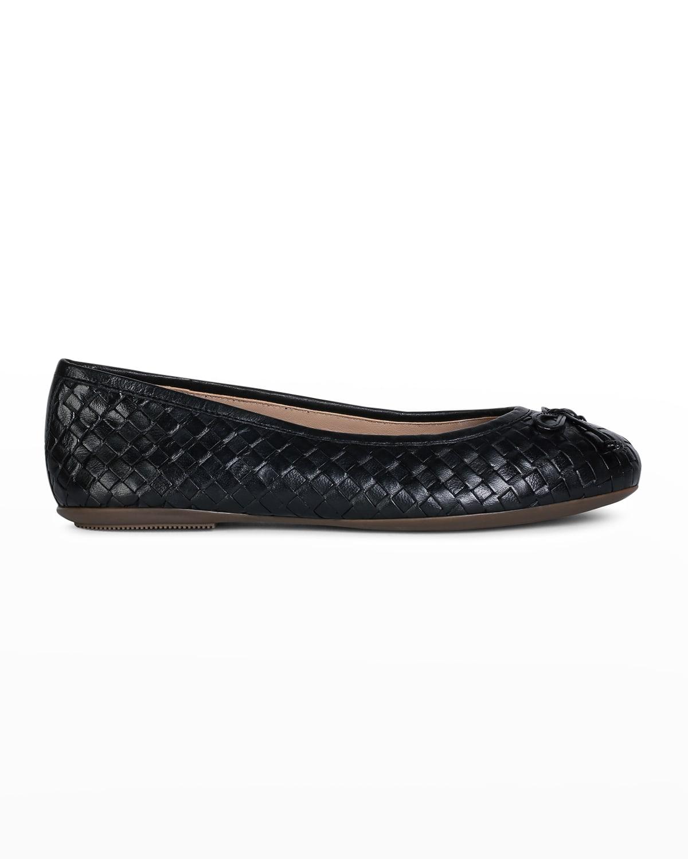 Woven Leather Bow Ballerina Flats