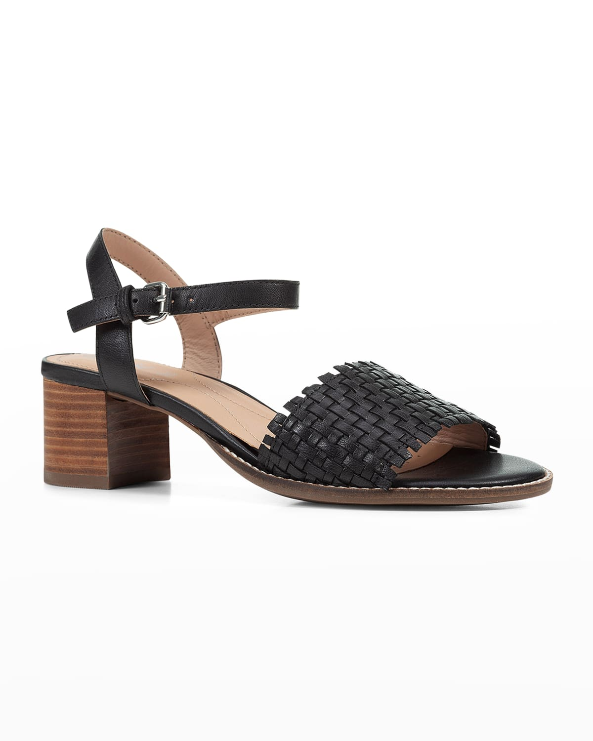 Woven Leather Ankle-Strap Sandals