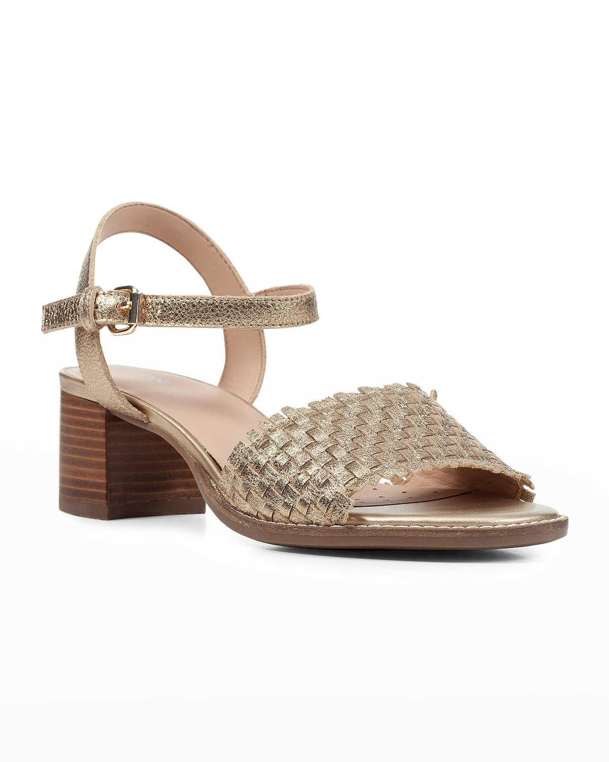 Metallic Woven Ankle-Strap Sandals