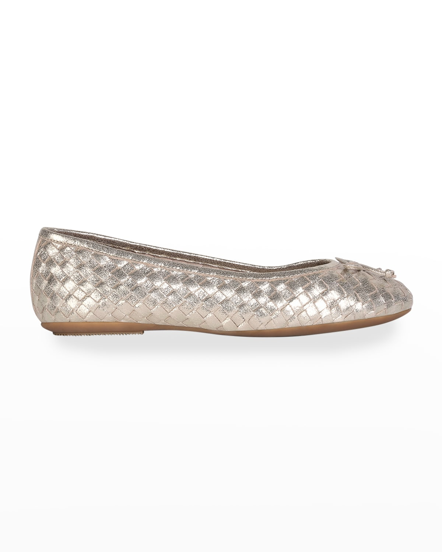Metallic Woven Leather Bow Ballerina Flats