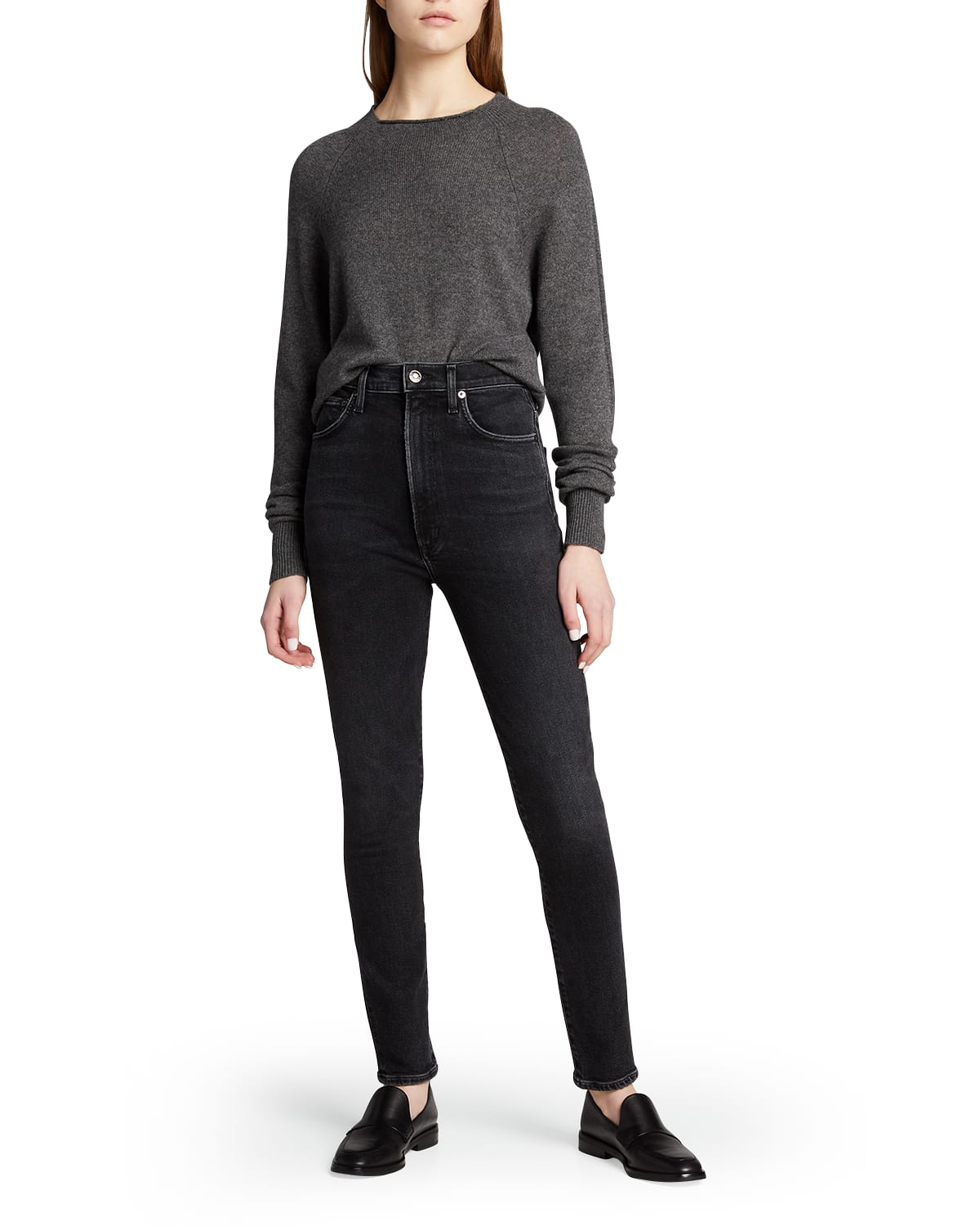 Pinched-Waist High-Rise Skinny Jeans