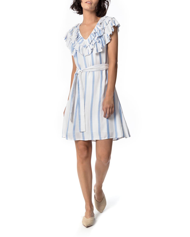 Serenata Stripe Ruffle Flirt Dress