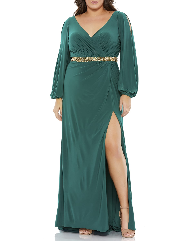 Plus Size Cold-Shoulder Jersey Gown