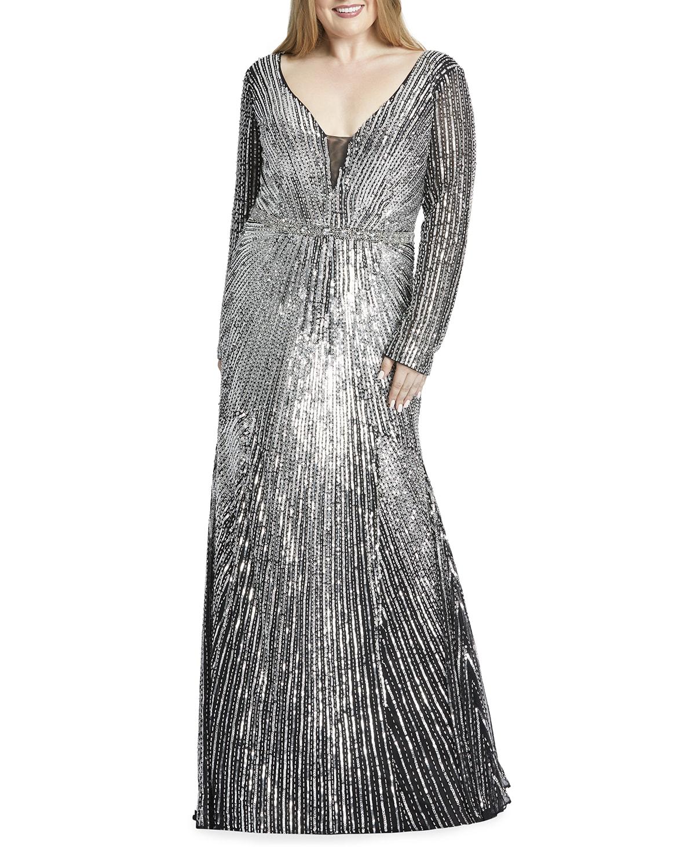 Plus Size Sequin Burst Long-Sleeve Column Gown