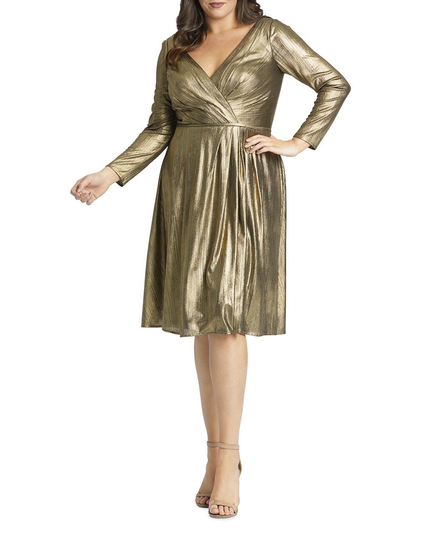 Plus Size Metallic Long-Sleeve Knee-Length Dress
