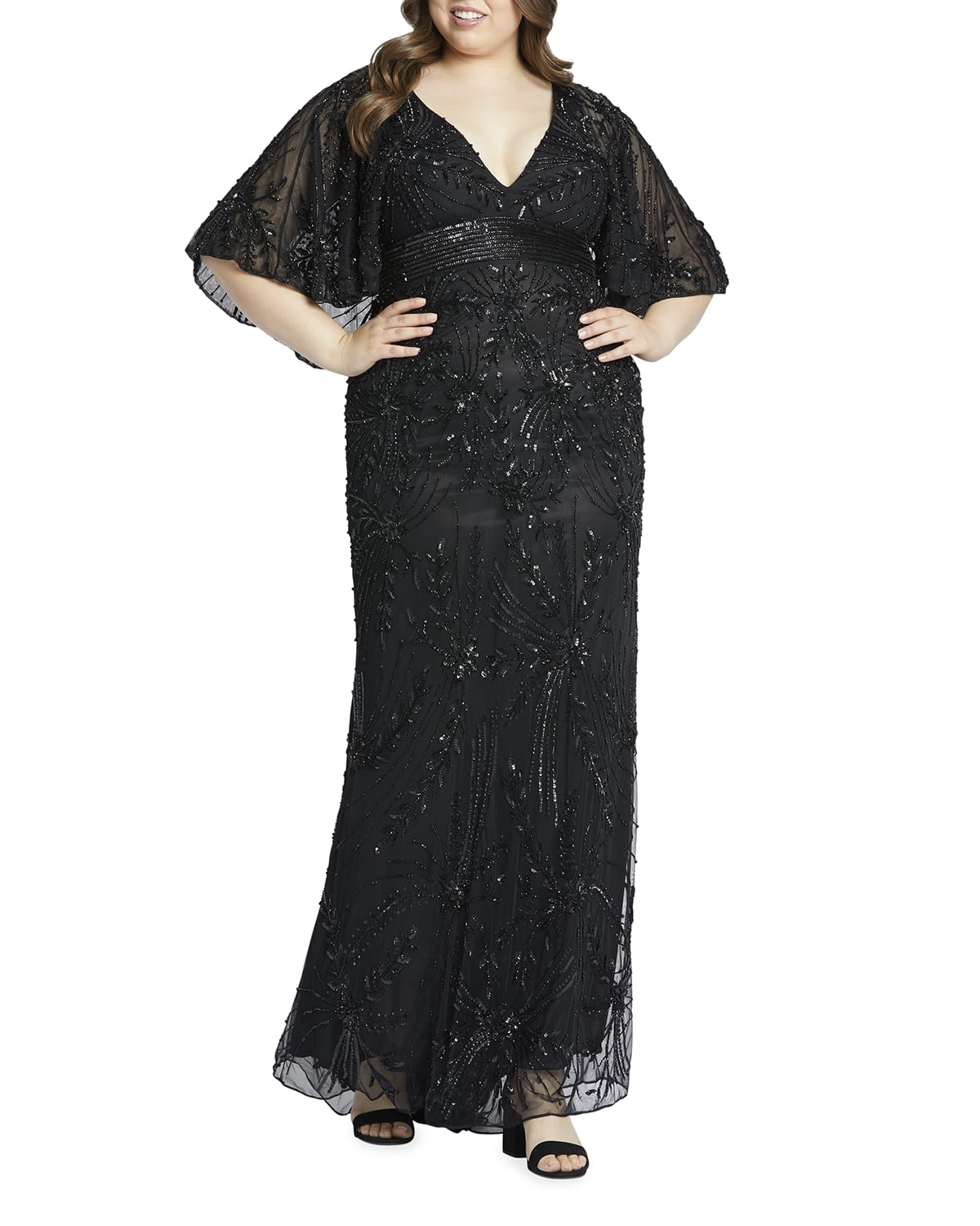 Plus Size Cape-Sleeve Beaded Column Gown