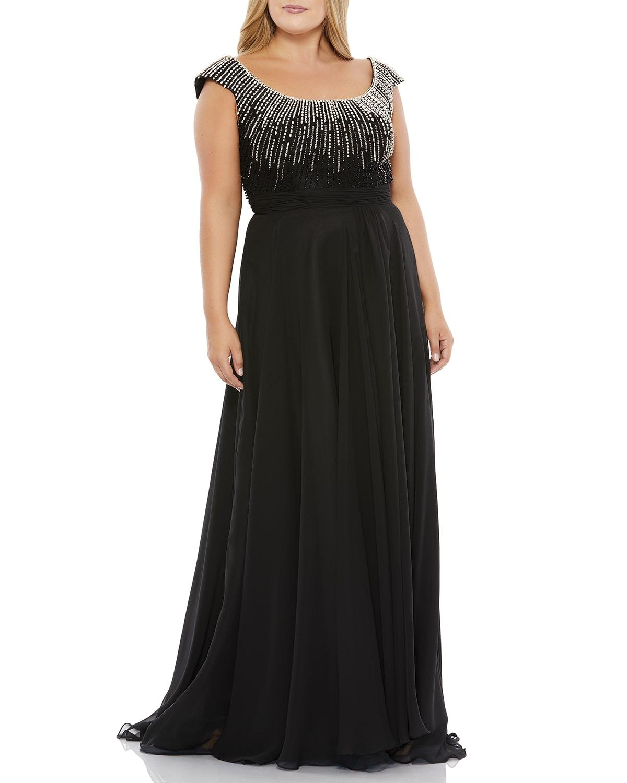 Plus Size Rhinestone Embellished Chiffon Gown