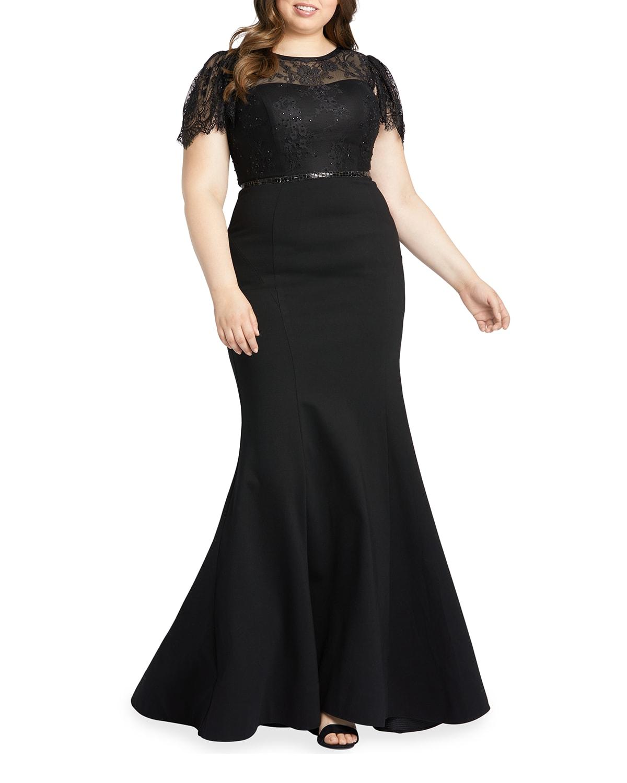 Plus Size Lace Illusion Mermaid Gown