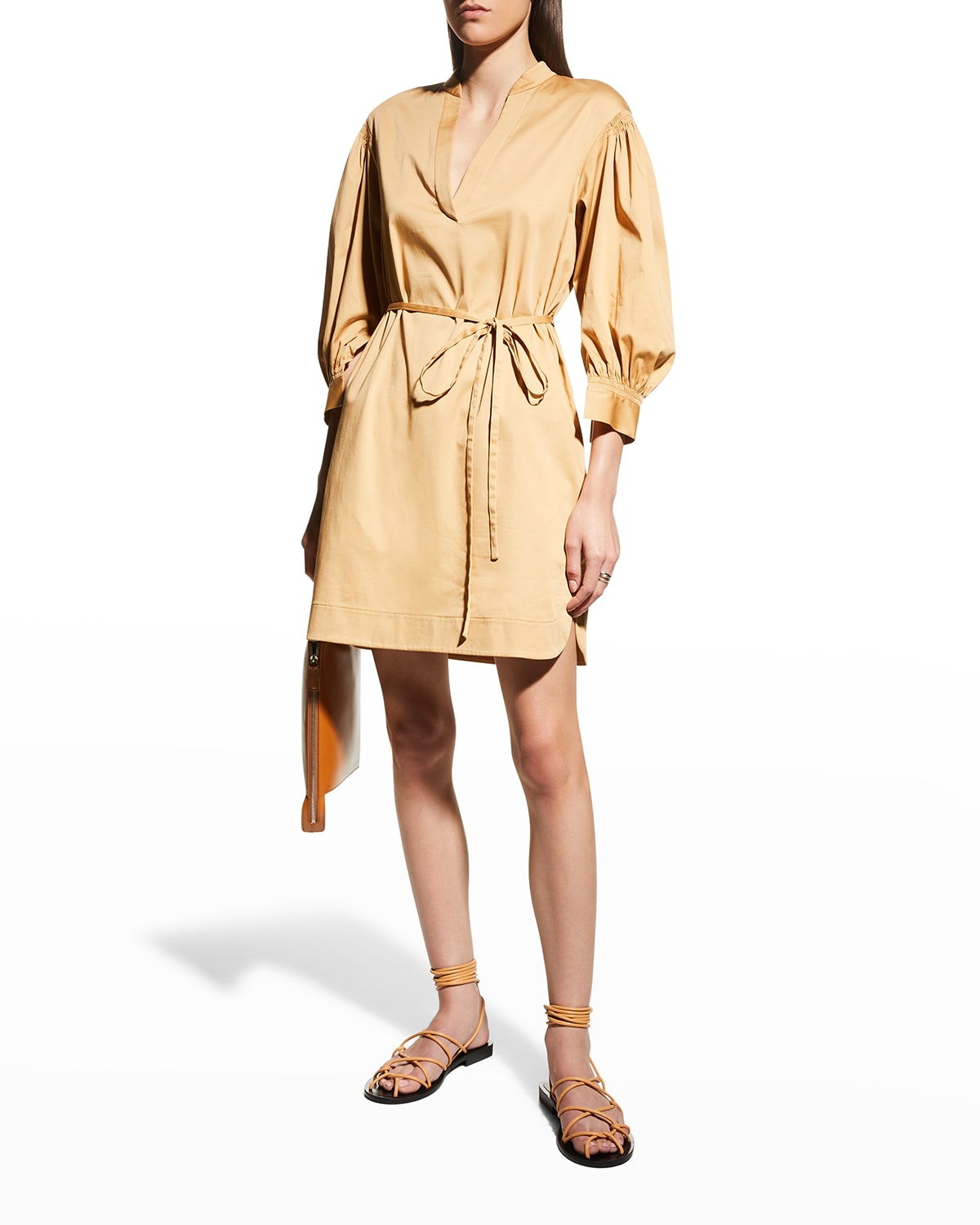 Long-Sleeve Twill Belted Dress