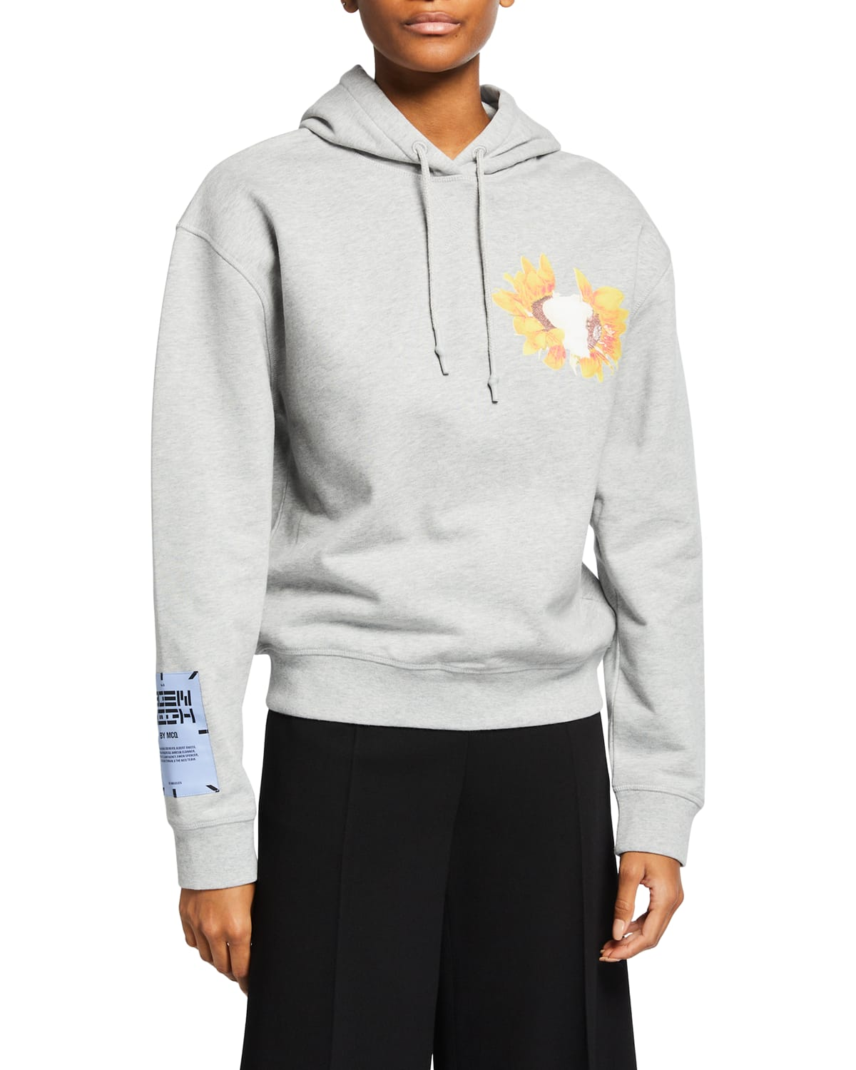 Cropped Flower Graphic Hoodie