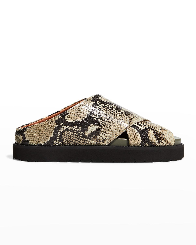 Python-Print Crisscross Flat Slide Sandals