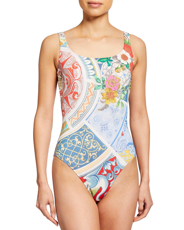 Boho Printed Tank One-Piece Swimsuit