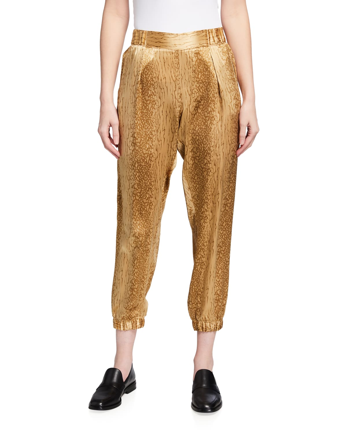 Cracked Paint Charmeuse Pull-On Pants