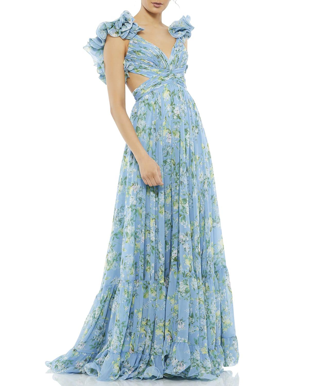 Floral Chiffon Ruffle-Strap Gown
